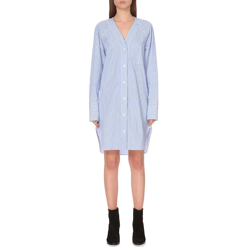 Shults Cotton Shirt Dress, Women's, Size: Medium, Blue White - style: shirt; neckline: v-neck; pattern: plain; predominant colour: royal blue; length: just above the knee; fit: body skimming; fibres: cotton - 100%; sleeve length: long sleeve; sleeve style: standard; texture group: cotton feel fabrics; pattern type: fabric; occasions: creative work; season: s/s 2016; wardrobe: highlight
