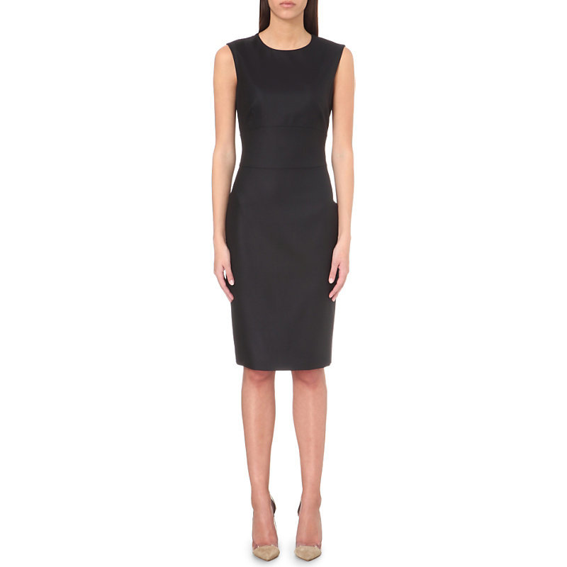 Wool And Silk Blend Dress, Women's, Blue - style: shift; fit: tailored/fitted; pattern: plain; sleeve style: sleeveless; predominant colour: black; occasions: evening; length: on the knee; fibres: wool - mix; neckline: crew; sleeve length: sleeveless; pattern type: fabric; texture group: woven light midweight; season: s/s 2016; wardrobe: event