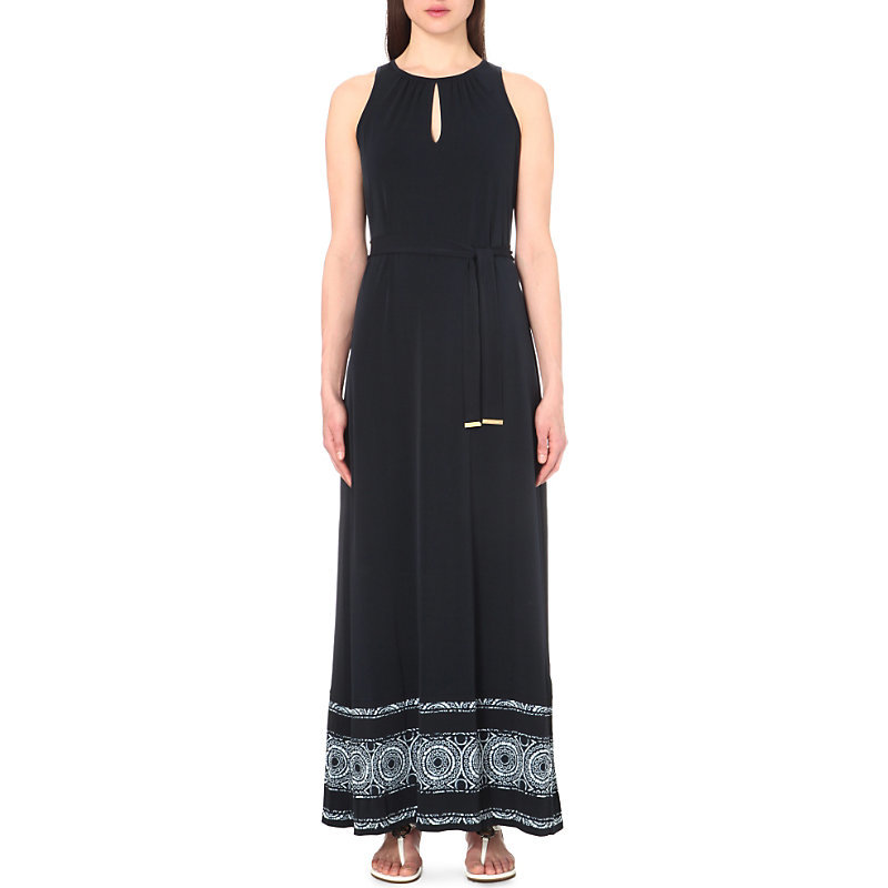 Miura Jersey Maxi Dress, Women's, Size: Small, New Navy - sleeve style: sleeveless; style: maxi dress; length: ankle length; waist detail: belted waist/tie at waist/drawstring; secondary colour: white; predominant colour: navy; occasions: casual, holiday; fit: fitted at waist & bust; neckline: peep hole neckline; fibres: polyester/polyamide - 100%; hip detail: soft pleats at hip/draping at hip/flared at hip; sleeve length: sleeveless; texture group: crepes; pattern type: fabric; pattern size: standard; pattern: patterned/print; season: s/s 2016; wardrobe: highlight