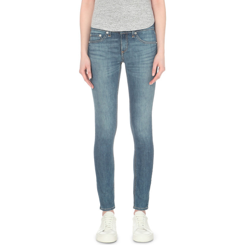 Faded Skinny Mid Rise Jeans, Women's, Prescott - style: skinny leg; pattern: plain; waist: mid/regular rise; predominant colour: denim; occasions: casual; length: ankle length; fibres: cotton - stretch; jeans detail: whiskering, shading down centre of thigh; texture group: denim; pattern type: fabric; season: s/s 2016; wardrobe: basic