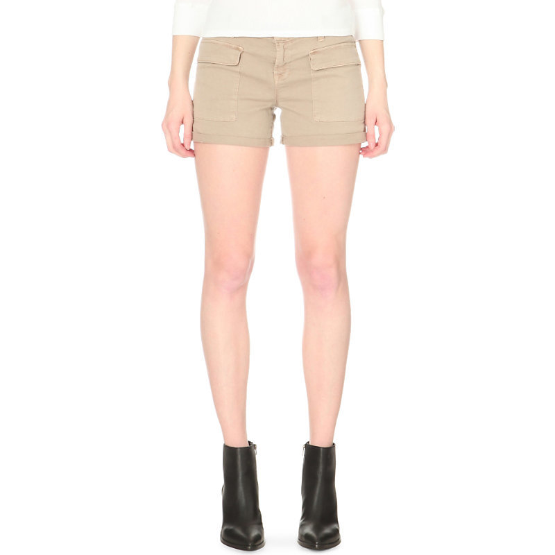 Kai Stretch Cotton Shorts, Women's, Distressed Quicksand - pattern: plain; waist: mid/regular rise; predominant colour: stone; occasions: casual, holiday; fibres: cotton - stretch; texture group: cotton feel fabrics; pattern type: fabric; season: s/s 2016; style: shorts; length: short shorts; fit: skinny/tight leg; wardrobe: holiday