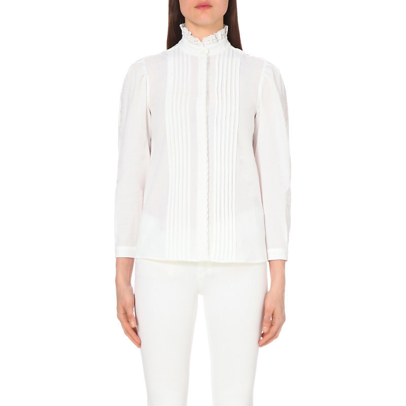 Celeste Cotton Shirt, Women's, White - pattern: plain; style: shirt; bust detail: subtle bust detail; predominant colour: white; occasions: work, creative work; length: standard; neckline: collarstand; fibres: cotton - 100%; fit: body skimming; sleeve length: 3/4 length; sleeve style: standard; texture group: cotton feel fabrics; pattern type: fabric; season: s/s 2016; wardrobe: basic