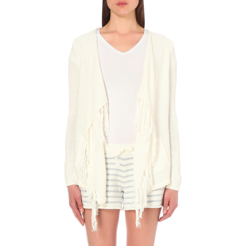Fringe Trim Draped Cotton Cardigan, Women's, Porcelain - pattern: plain; neckline: waterfall neck; style: open front; predominant colour: ivory/cream; occasions: casual, creative work; length: standard; fibres: cotton - 100%; fit: loose; sleeve length: long sleeve; sleeve style: standard; texture group: knits/crochet; pattern type: knitted - fine stitch; season: s/s 2016; wardrobe: basic