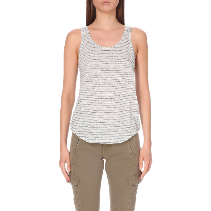 Summer Stripe Vest Top, Women's, Size: Large, Gray/Black - neckline: round neck; sleeve style: standard vest straps/shoulder straps; pattern: horizontal stripes; style: vest top; secondary colour: white; predominant colour: light grey; occasions: casual, holiday; length: standard; fibres: cotton - 100%; fit: straight cut; sleeve length: sleeveless; pattern type: fabric; pattern size: light/subtle; texture group: jersey - stretchy/drapey; season: s/s 2016; wardrobe: basic