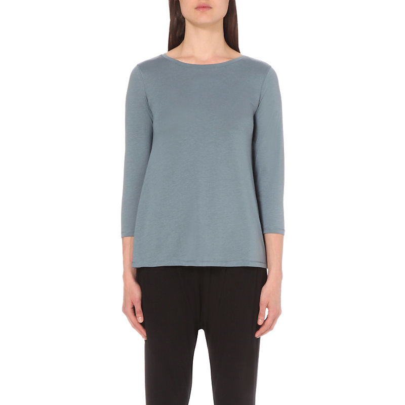 Handkerchief Hem Jersey Top, Women's, Blue - neckline: round neck; pattern: plain; predominant colour: mid grey; occasions: casual, work, creative work; length: standard; style: top; fibres: cotton - mix; fit: body skimming; sleeve length: 3/4 length; sleeve style: standard; pattern type: fabric; texture group: jersey - stretchy/drapey; season: s/s 2016; wardrobe: basic