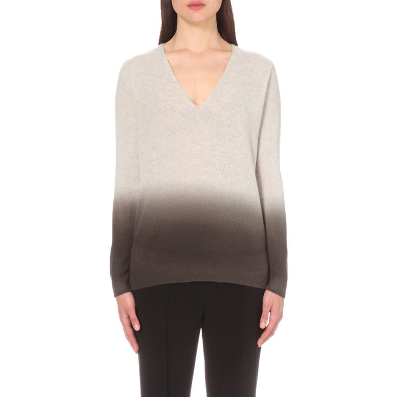 Adrianna Cashmere Jumper, Women's, Size: Xs, Soft Grey Moss - neckline: v-neck; style: standard; secondary colour: charcoal; predominant colour: light grey; occasions: casual, creative work; length: standard; fit: standard fit; fibres: cashmere - 100%; sleeve length: long sleeve; sleeve style: standard; texture group: knits/crochet; pattern type: knitted - fine stitch; pattern size: standard; pattern: colourblock; season: s/s 2016