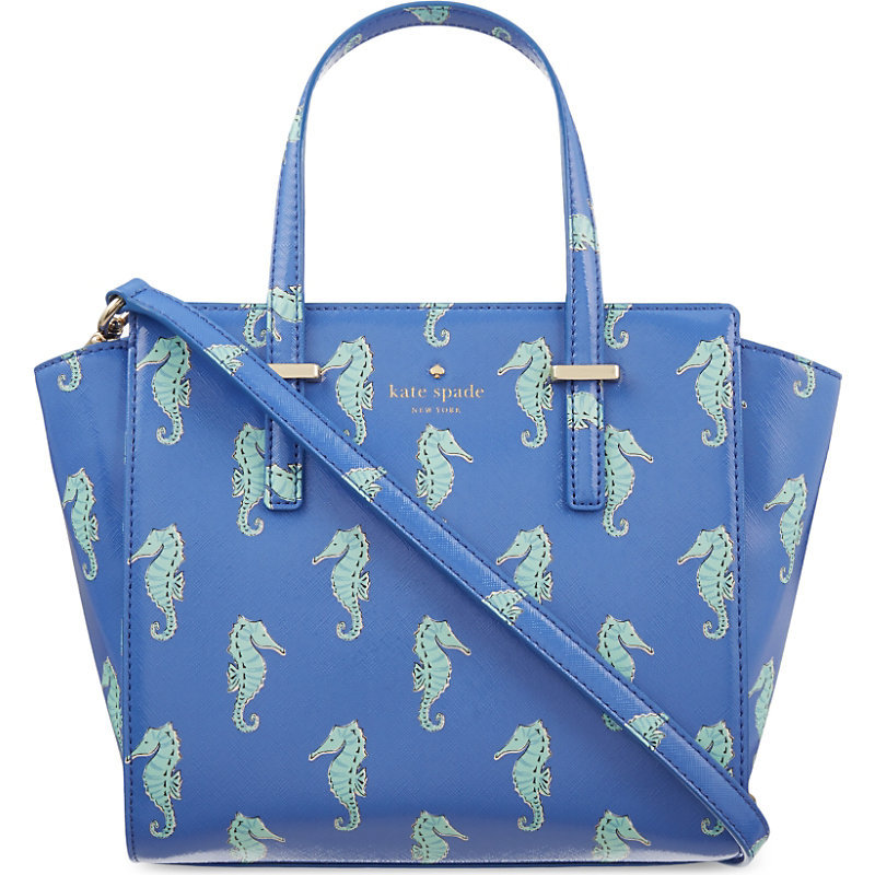 Small Hayden Seahorses Tote, Women's, Adventure Blue - predominant colour: royal blue; secondary colour: pistachio; occasions: casual, creative work; type of pattern: standard; style: tote; length: handle; size: standard; material: faux leather; finish: plain; pattern: patterned/print; season: s/s 2016; wardrobe: highlight
