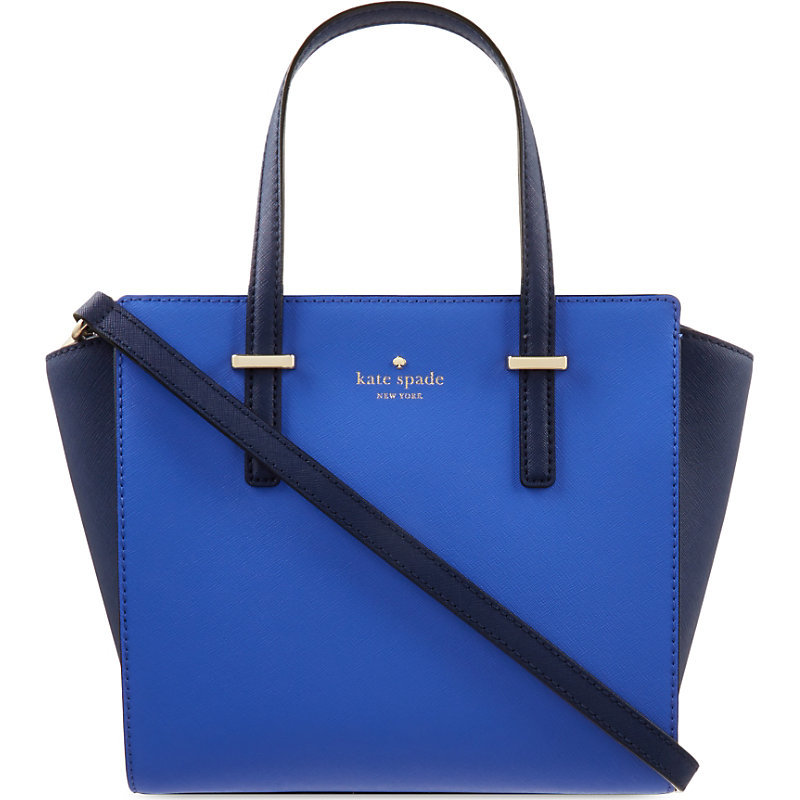 Hayden Cedar Street Small Leather Tote, Women's, Ocean Blue/Advent Blue - predominant colour: royal blue; secondary colour: navy; occasions: casual, work, creative work; type of pattern: standard; style: tote; length: handle; size: standard; material: leather; finish: plain; pattern: colourblock; season: s/s 2016; wardrobe: highlight