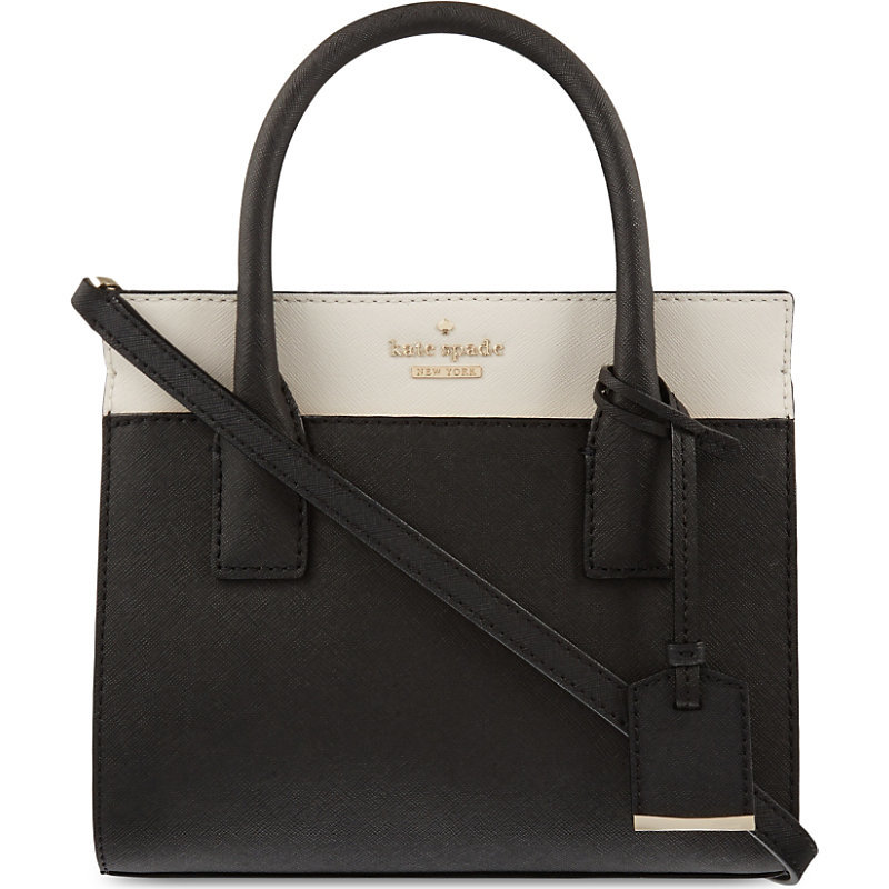 Cameron Street Mini Candace Leather Satchel, Women's, Black/Light Brown - secondary colour: ivory/cream; predominant colour: black; occasions: casual, work, creative work; type of pattern: light; style: tote; length: handle; size: standard; material: leather; finish: plain; pattern: colourblock; season: s/s 2016