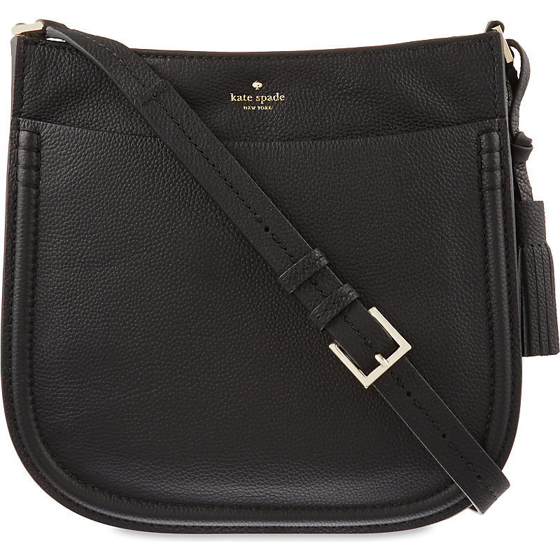 Orchard Street Hemsley Leather Cross Body Bag, Women's, Black - predominant colour: black; occasions: casual, creative work; type of pattern: light; style: messenger; length: across body/long; size: standard; material: leather; pattern: plain; finish: plain; season: s/s 2016; wardrobe: basic