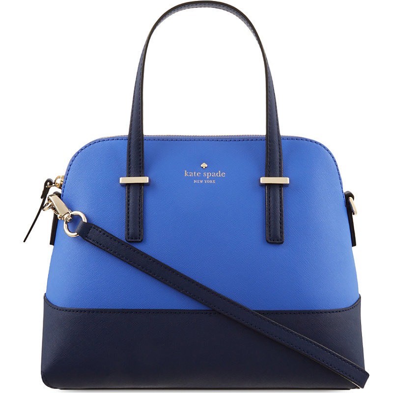 Cedar Street Maise Leather Shoulder Bag, Women's, Ocean Blue/Advent Blue - predominant colour: diva blue; secondary colour: navy; occasions: work, creative work; type of pattern: light; style: bowling; length: handle; size: standard; material: leather; finish: plain; pattern: colourblock; season: s/s 2016