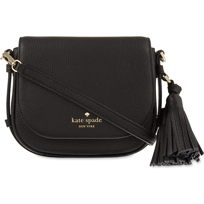 Orchard Street Penelope Small Leather Shoulder Bag, Women's, Black - predominant colour: black; occasions: casual, creative work; type of pattern: standard; style: saddle; length: across body/long; size: small; material: leather; embellishment: tassels; pattern: plain; finish: plain; season: s/s 2016; wardrobe: basic
