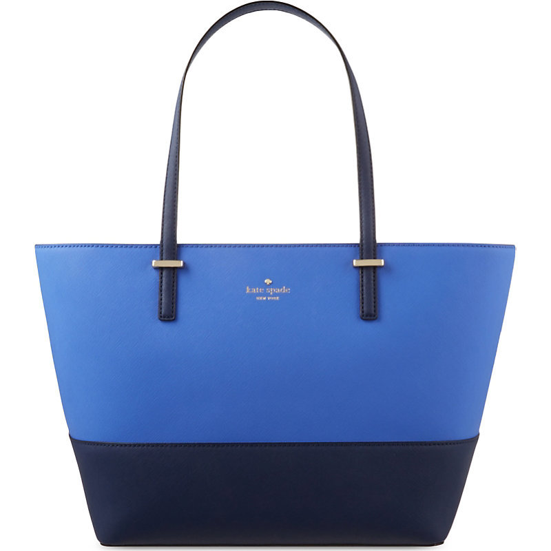Cedar Street Harmony Small Leather Tote, Women's, Ocean Blue/Advent Blue - predominant colour: royal blue; secondary colour: denim; occasions: casual, creative work; type of pattern: light; style: tote; length: shoulder (tucks under arm); size: standard; material: leather; pattern: plain; finish: plain; season: s/s 2016; wardrobe: highlight