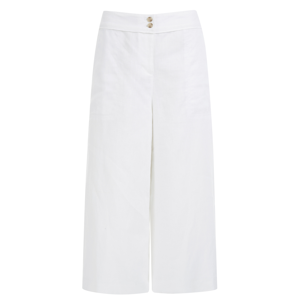 Cropped Linen Culottes - pattern: plain; waist: mid/regular rise; predominant colour: white; occasions: casual, creative work; length: ankle length; fibres: linen - 100%; texture group: linen; fit: wide leg; pattern type: fabric; style: standard; season: s/s 2016; wardrobe: basic