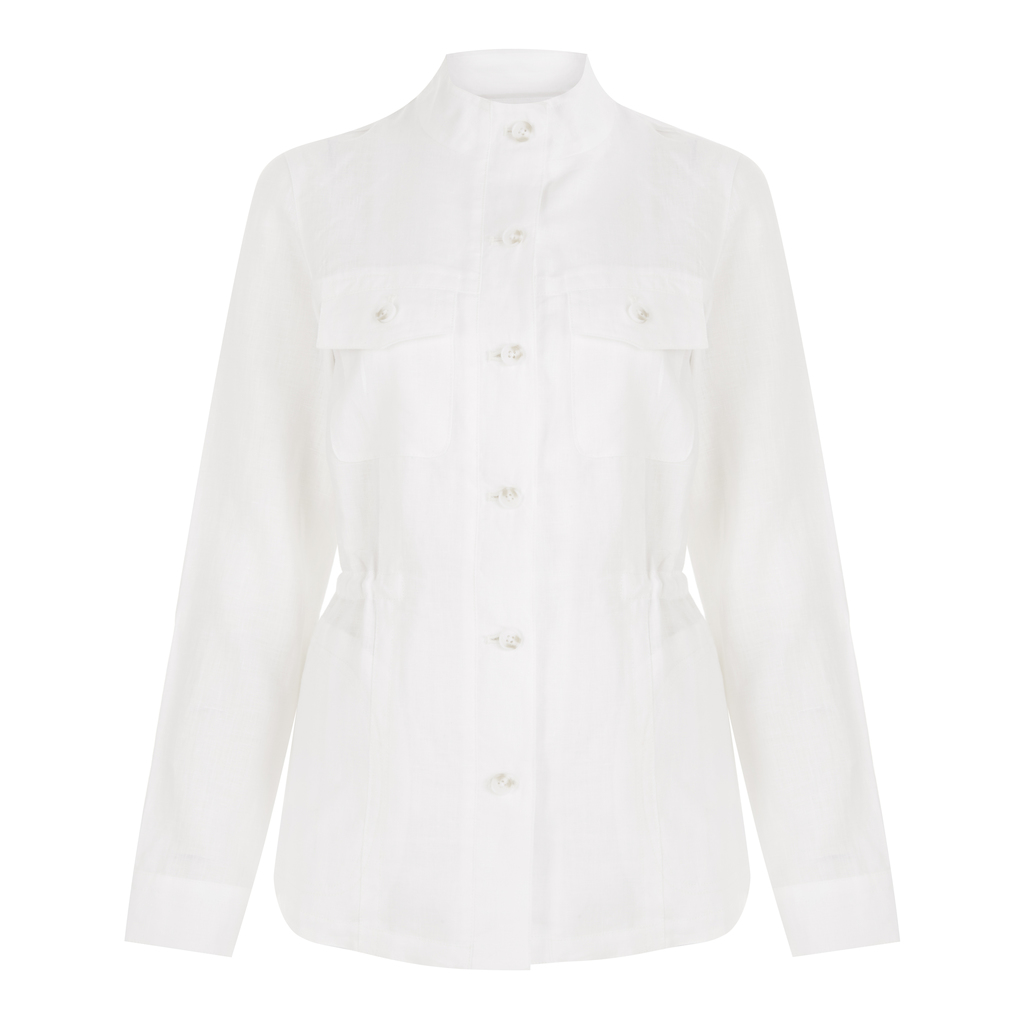 Utility Linen Jacket - pattern: plain; style: single breasted blazer; collar: mandarin; length: below the bottom; predominant colour: white; occasions: casual, creative work; fit: tailored/fitted; fibres: linen - 100%; sleeve length: long sleeve; sleeve style: standard; texture group: linen; collar break: high; pattern type: fabric; season: s/s 2016; wardrobe: basic
