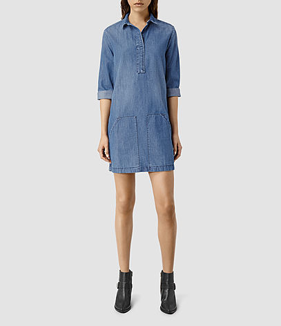 Ash Dress - style: shirt; length: mini; neckline: shirt collar/peter pan/zip with opening; pattern: plain; predominant colour: denim; occasions: casual; fit: straight cut; fibres: cotton - stretch; sleeve length: 3/4 length; sleeve style: standard; texture group: denim; pattern type: fabric; season: s/s 2016