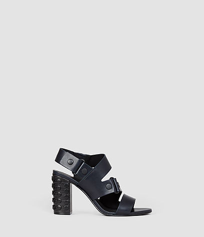 East Heel Sandal - predominant colour: black; occasions: evening; material: leather; heel height: high; embellishment: studs; ankle detail: ankle strap; heel: block; toe: open toe/peeptoe; style: strappy; finish: plain; pattern: plain; season: s/s 2016; wardrobe: event