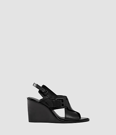 Elin Wedge Sandal - predominant colour: black; material: leather; heel height: high; ankle detail: ankle strap; heel: wedge; toe: open toe/peeptoe; style: standard; finish: plain; pattern: plain; occasions: creative work; season: s/s 2016