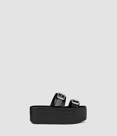 Knox Sandal - predominant colour: black; occasions: casual, holiday; material: leather; heel height: mid; embellishment: buckles; heel: wedge; toe: open toe/peeptoe; style: slides; finish: plain; pattern: plain; shoe detail: platform; season: s/s 2016