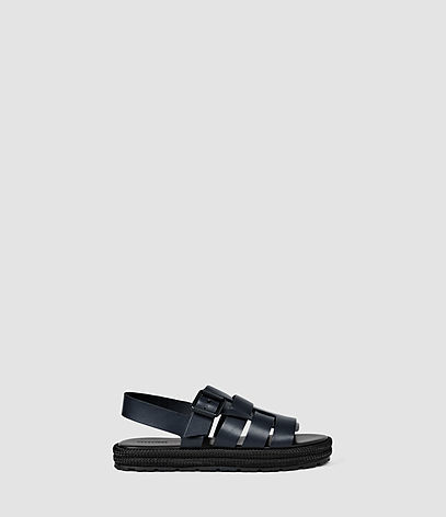 Botan Sandal - predominant colour: black; occasions: casual, holiday; material: leather; heel height: flat; ankle detail: ankle strap; heel: standard; toe: open toe/peeptoe; style: strappy; finish: plain; pattern: plain; shoe detail: platform; season: s/s 2016; wardrobe: basic
