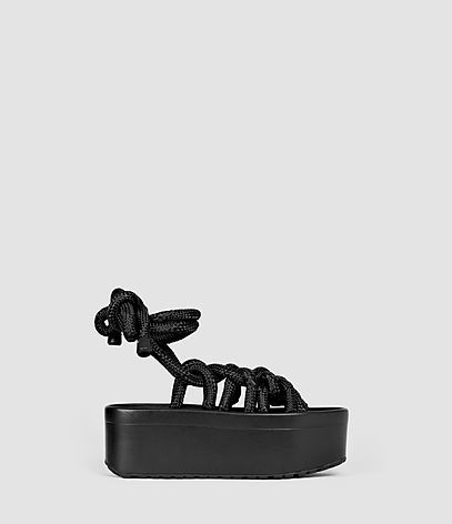 Knit Sandal - predominant colour: black; occasions: casual, holiday; material: leather; heel height: mid; ankle detail: ankle tie; heel: wedge; toe: open toe/peeptoe; style: strappy; finish: plain; pattern: plain; shoe detail: platform; season: s/s 2016