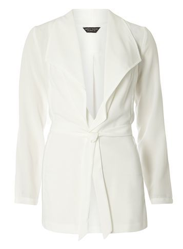 Womens White Long Sleeve Tie Jacket White - pattern: plain; style: belted jacket; collar: wide lapels; length: below the bottom; predominant colour: ivory/cream; fit: tailored/fitted; fibres: polyester/polyamide - stretch; sleeve length: 3/4 length; sleeve style: standard; collar break: low/open; pattern type: fabric; texture group: other - light to midweight; occasions: creative work; season: s/s 2016; wardrobe: investment