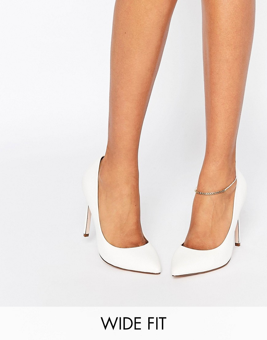 Playful Wide Fit Pointed Shoes White - predominant colour: white; occasions: evening, occasion; material: faux leather; heel height: high; heel: stiletto; toe: pointed toe; style: courts; finish: plain; pattern: plain; season: s/s 2016