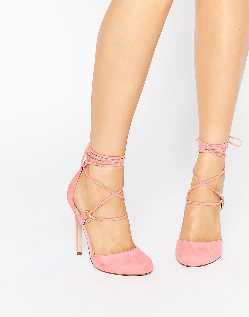Persevere Lace Up High Heels Pink - predominant colour: pink; occasions: evening, occasion; material: faux leather; heel height: high; ankle detail: ankle tie; heel: stiletto; toe: round toe; style: courts; finish: plain; pattern: plain; season: s/s 2016; wardrobe: event