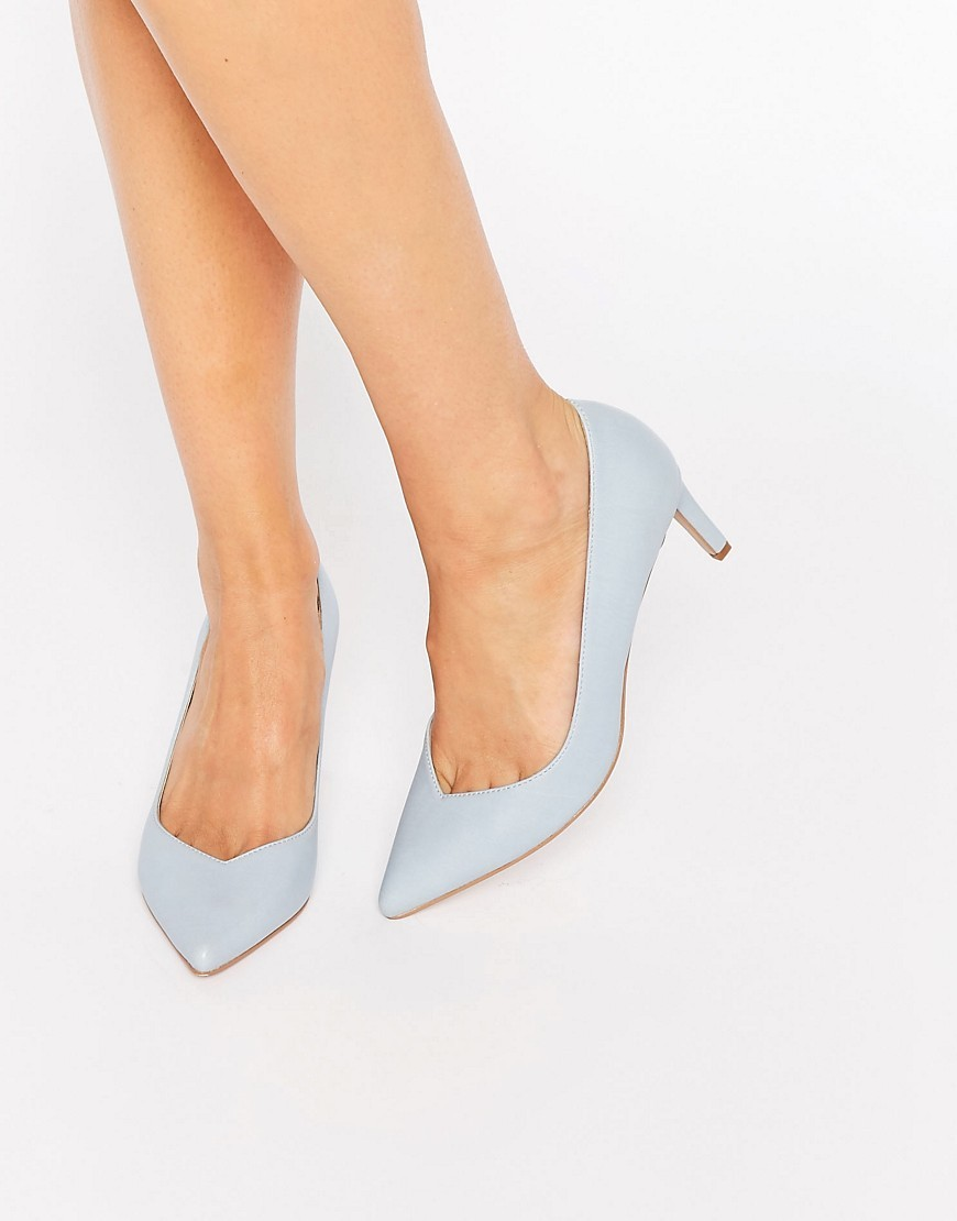 Soulmate Pointed Heels Pale Blue - predominant colour: pale blue; material: faux leather; heel height: mid; heel: kitten; toe: pointed toe; style: courts; finish: plain; pattern: plain; occasions: creative work; season: s/s 2016; wardrobe: highlight