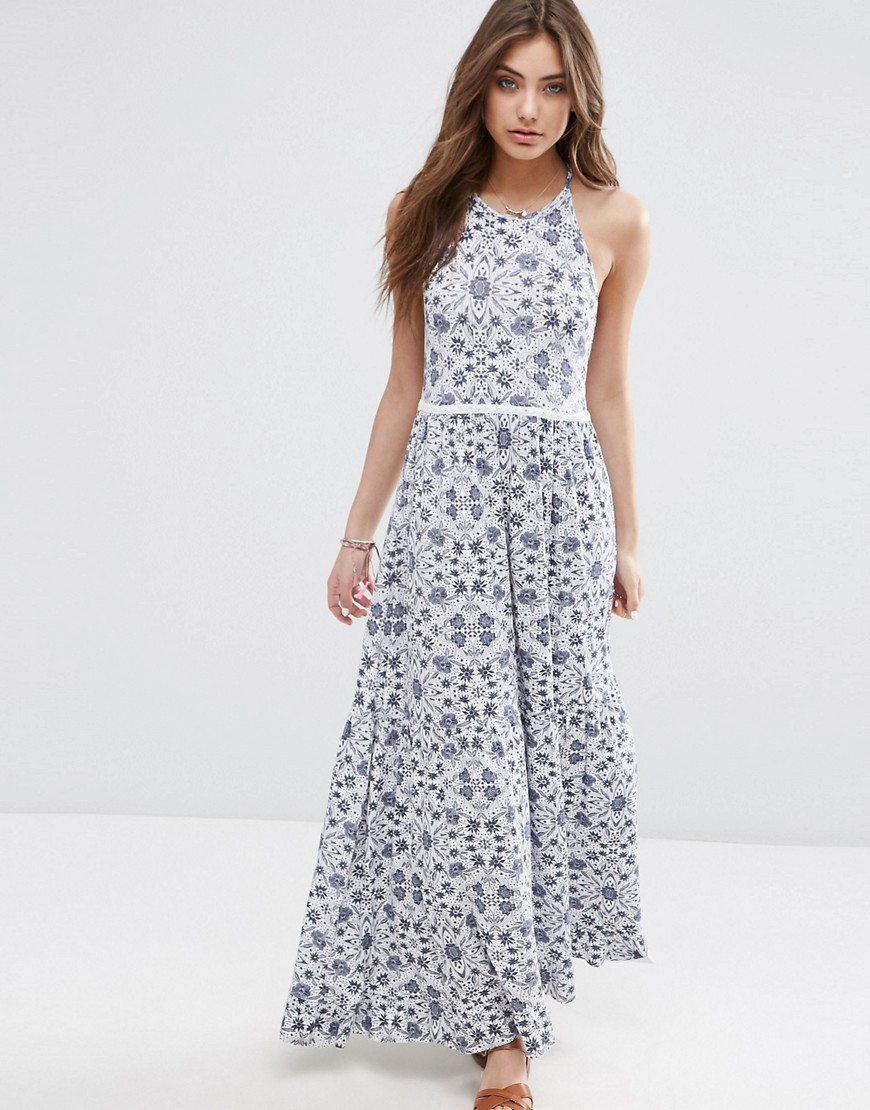 Tile Print Tiered Maxi With Lace Trim Blue/White - sleeve style: sleeveless; style: maxi dress; length: ankle length; predominant colour: ivory/cream; secondary colour: denim; fit: body skimming; fibres: viscose/rayon - stretch; occasions: occasion; neckline: crew; sleeve length: sleeveless; pattern type: fabric; pattern: patterned/print; texture group: jersey - stretchy/drapey; season: s/s 2016