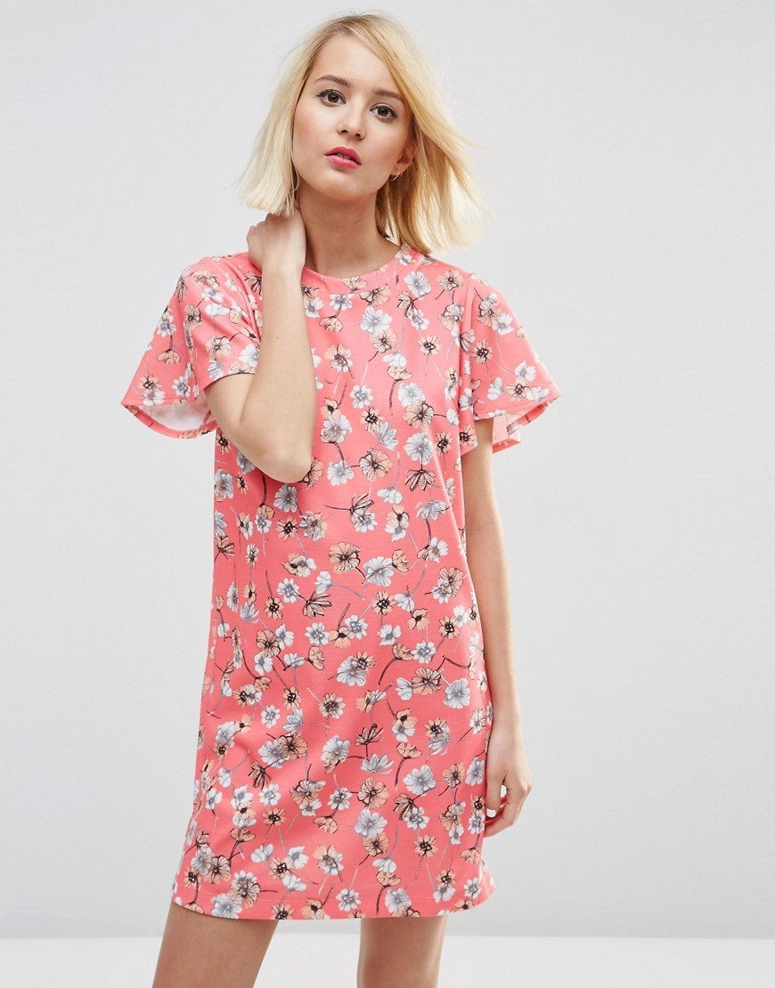 Ruffle Sleeve Shift Dress In Pretty Floral Multi - style: shift; length: mid thigh; secondary colour: ivory/cream; predominant colour: pink; occasions: evening; fit: body skimming; fibres: polyester/polyamide - stretch; neckline: crew; sleeve length: short sleeve; sleeve style: standard; pattern type: fabric; pattern: patterned/print; texture group: jersey - stretchy/drapey; multicoloured: multicoloured; season: s/s 2016