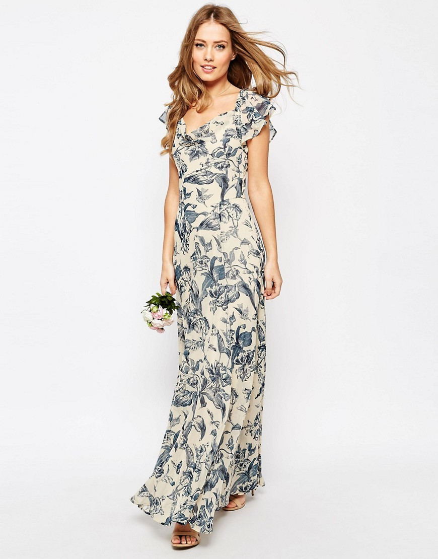 Wedding Frill Shoulder Detail Maxi Dress In Print Multi - neckline: v-neck; sleeve style: capped; style: maxi dress; predominant colour: ivory/cream; secondary colour: navy; length: floor length; fit: body skimming; fibres: polyester/polyamide - 100%; occasions: occasion; sleeve length: short sleeve; pattern type: fabric; pattern: patterned/print; texture group: other - light to midweight; season: s/s 2016; wardrobe: event
