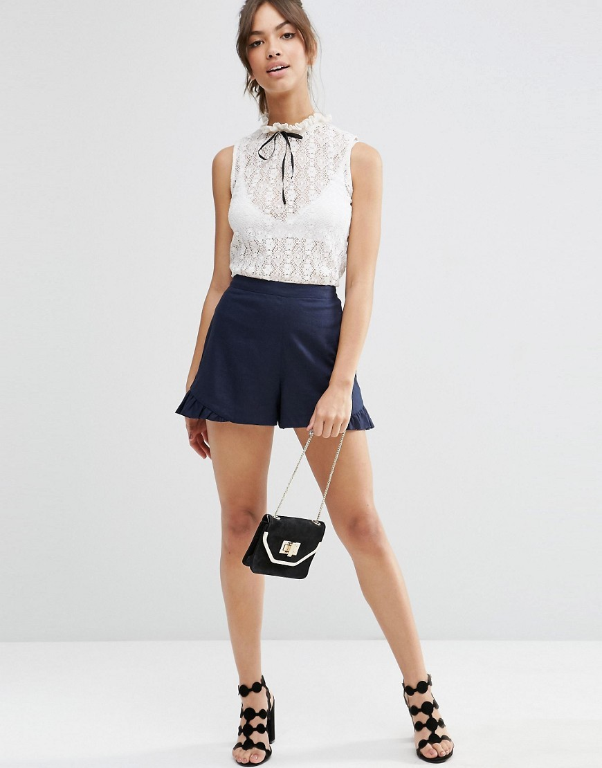 Linen Short With Ruffle Navy - pattern: plain; waist: high rise; predominant colour: navy; occasions: casual; fibres: linen - mix; texture group: crepes; pattern type: fabric; season: s/s 2016; style: shorts; length: short shorts; fit: a-line