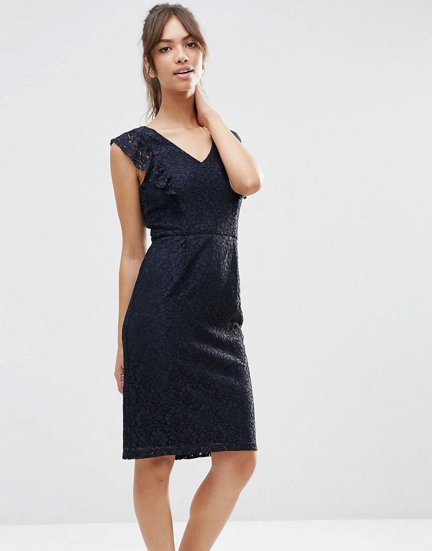 Ruffle Lace Pencil Dress Navy - style: shift; neckline: v-neck; sleeve style: capped; fit: tailored/fitted; predominant colour: navy; occasions: evening, occasion; length: on the knee; fibres: polyester/polyamide - mix; sleeve length: short sleeve; texture group: lace; pattern type: fabric; pattern size: standard; pattern: patterned/print; season: s/s 2016; wardrobe: event; embellishment: frills; embellishment location: bust