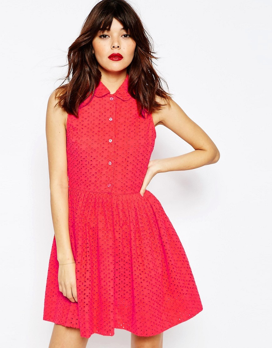Mini Broderie Shirt Dress Coral - length: mid thigh; neckline: shirt collar/peter pan/zip with opening; pattern: plain; sleeve style: sleeveless; predominant colour: coral; occasions: casual, evening, creative work; fit: fitted at waist & bust; style: fit & flare; fibres: cotton - 100%; sleeve length: sleeveless; pattern type: fabric; texture group: broiderie anglais; season: s/s 2016; wardrobe: highlight
