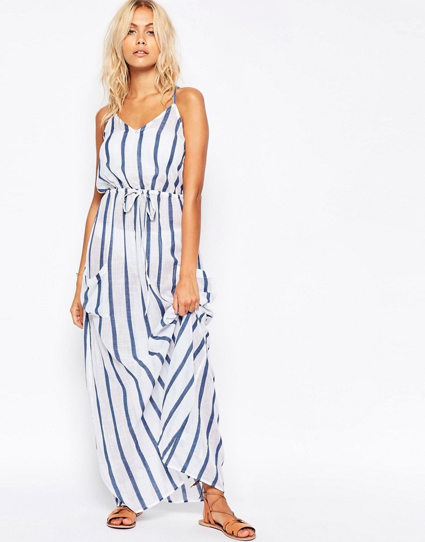 Stripe Linen Pocket Maxi Beach Dress Stripe - neckline: low v-neck; sleeve style: spaghetti straps; pattern: horizontal stripes; style: maxi dress; length: ankle length; predominant colour: white; secondary colour: white; occasions: casual; fit: body skimming; fibres: cotton - 100%; sleeve length: sleeveless; pattern type: fabric; texture group: other - light to midweight; season: s/s 2016; wardrobe: basic