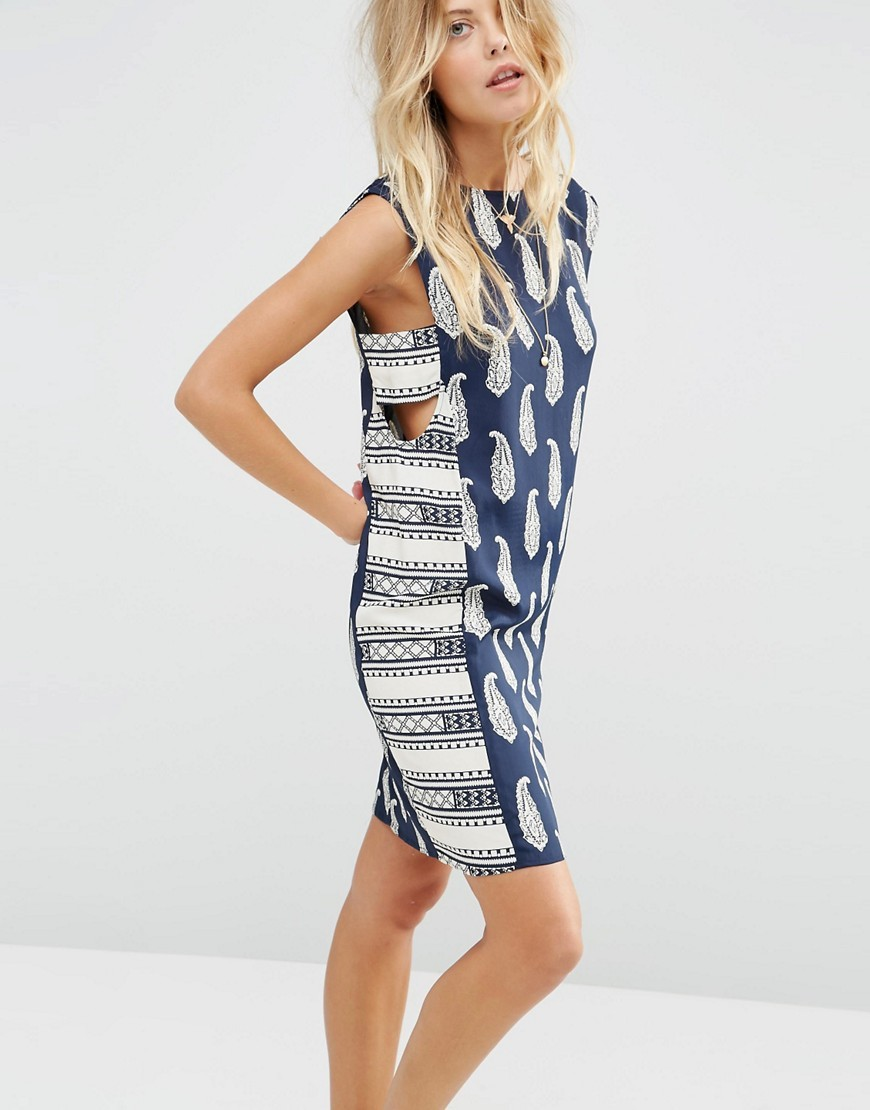 Mini Sundress In Mixed Print With Tab Side Detail Multi - length: mid thigh; sleeve style: sleeveless; style: sundress; secondary colour: white; predominant colour: navy; occasions: casual; fit: body skimming; fibres: viscose/rayon - 100%; neckline: crew; sleeve length: sleeveless; pattern type: fabric; pattern size: standard; pattern: patterned/print; texture group: other - light to midweight; season: s/s 2016
