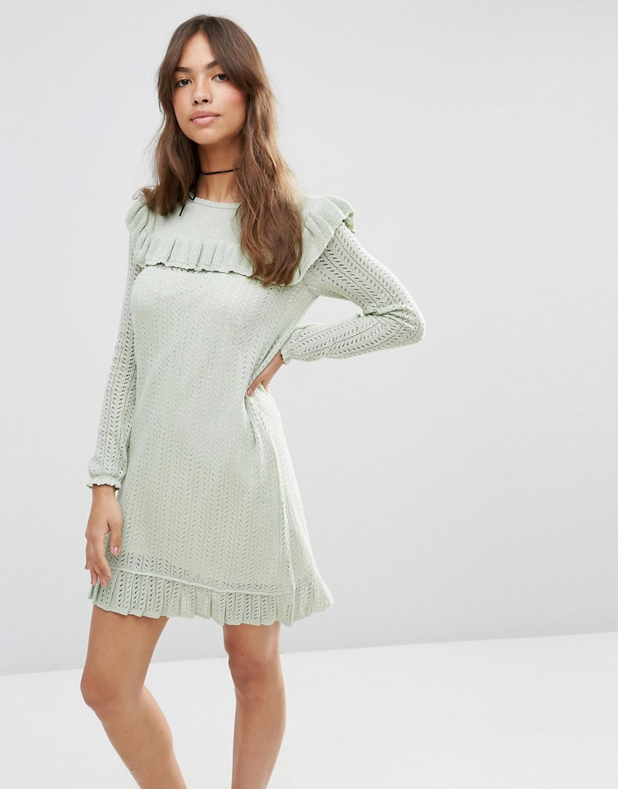 Dress In Pointelle Stitch With Ruffle Detail Mint - style: shift; length: mid thigh; neckline: slash/boat neckline; pattern: plain; predominant colour: pistachio; occasions: casual, creative work; fit: soft a-line; fibres: cotton - mix; shoulder detail: bulky shoulder detail; sleeve length: long sleeve; sleeve style: standard; texture group: knits/crochet; pattern type: knitted - other; season: s/s 2016; wardrobe: highlight