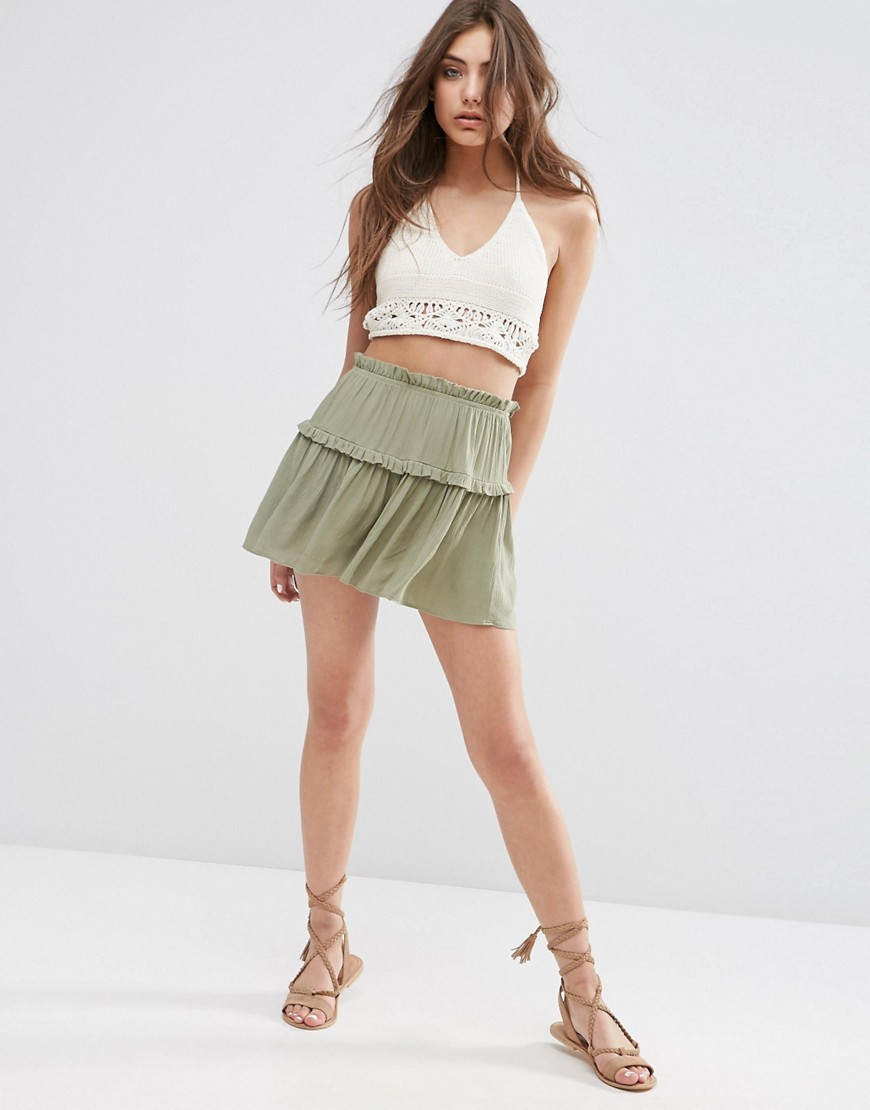 Tiered Ruffle Flutter Shorts Light Khaki - pattern: plain; waist detail: elasticated waist; waist: high rise; predominant colour: pistachio; occasions: casual, holiday; fibres: polyester/polyamide - 100%; texture group: sheer fabrics/chiffon/organza etc.; pattern type: fabric; season: s/s 2016; style: culotte; length: short shorts; fit: baggy