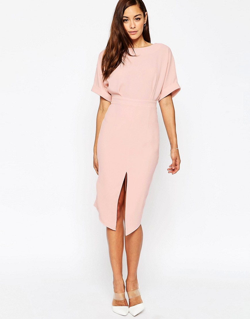 Wiggle Dress With Split Front Blush - style: shift; length: below the knee; sleeve style: dolman/batwing; fit: tailored/fitted; pattern: plain; predominant colour: blush; fibres: polyester/polyamide - stretch; occasions: occasion; neckline: crew; sleeve length: half sleeve; texture group: crepes; pattern type: fabric; season: s/s 2016; wardrobe: event