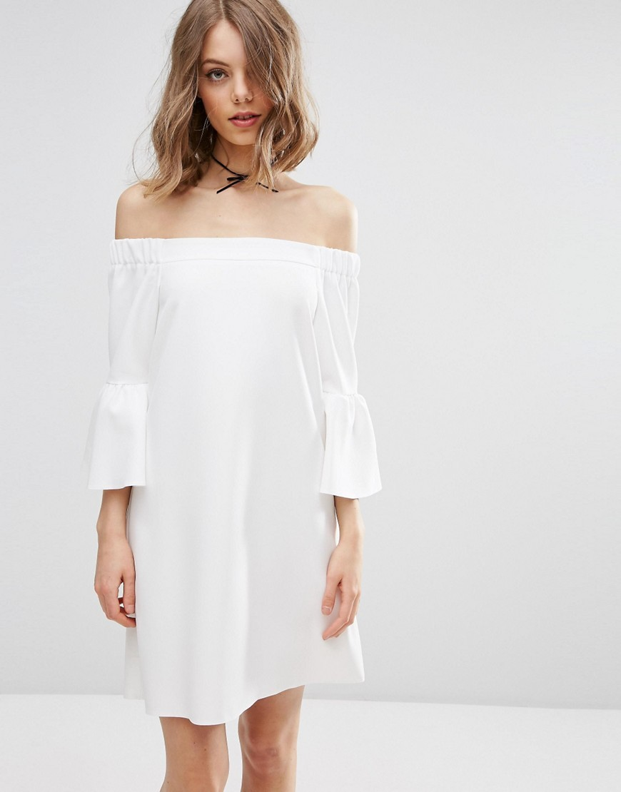 Fluted Sleeve Off Shoulder Mini Dress Ivory - style: shift; neckline: off the shoulder; pattern: plain; predominant colour: ivory/cream; occasions: casual; length: just above the knee; fit: body skimming; fibres: polyester/polyamide - stretch; sleeve length: 3/4 length; sleeve style: standard; pattern type: fabric; texture group: other - light to midweight; season: s/s 2016