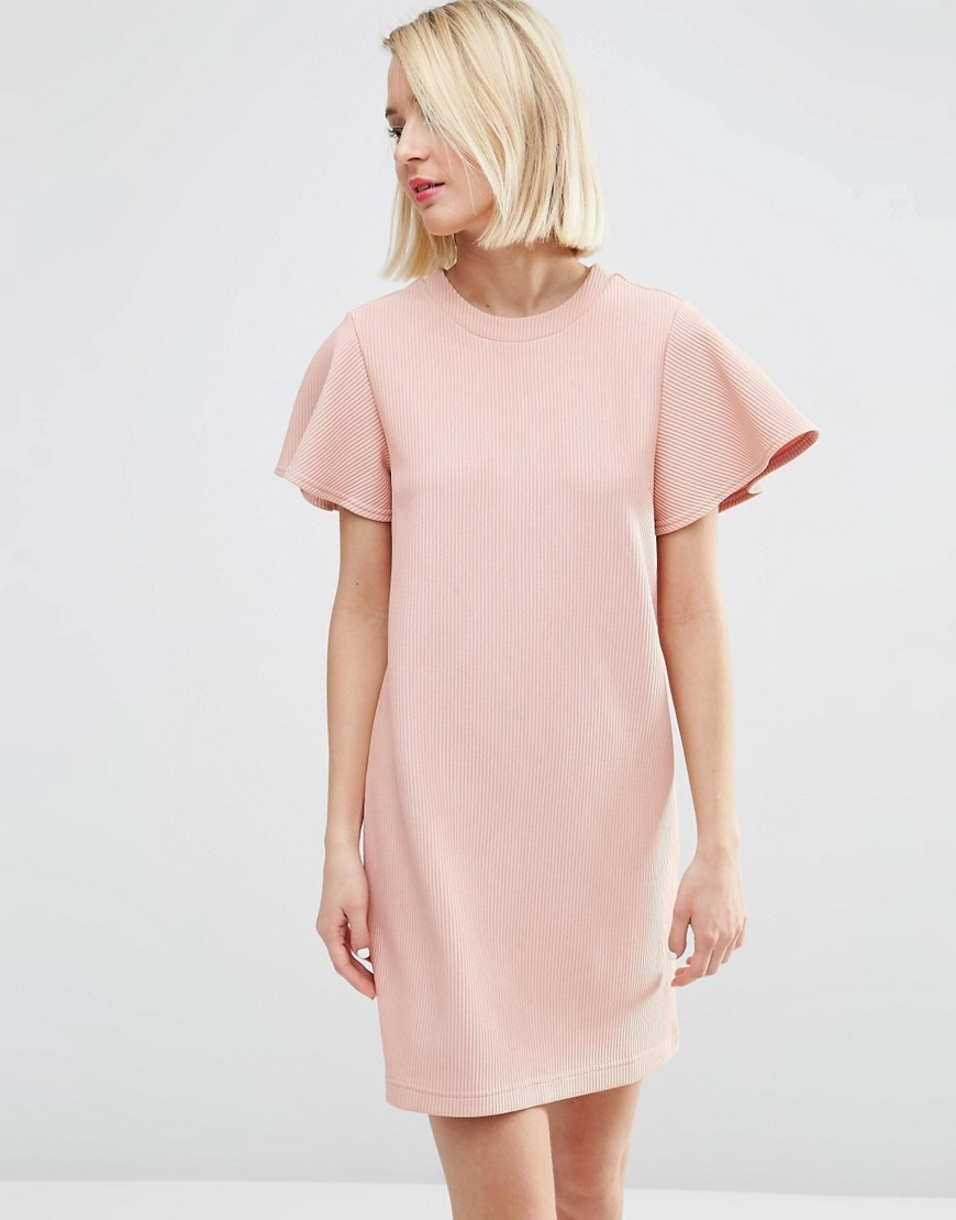 Ruffle Sleeve Shift Dress Dusty Pink - style: shift; length: mid thigh; sleeve style: angel/waterfall; pattern: plain; predominant colour: blush; occasions: evening, creative work; fit: straight cut; fibres: polyester/polyamide - 100%; neckline: crew; sleeve length: short sleeve; texture group: crepes; pattern type: fabric; season: s/s 2016; wardrobe: investment