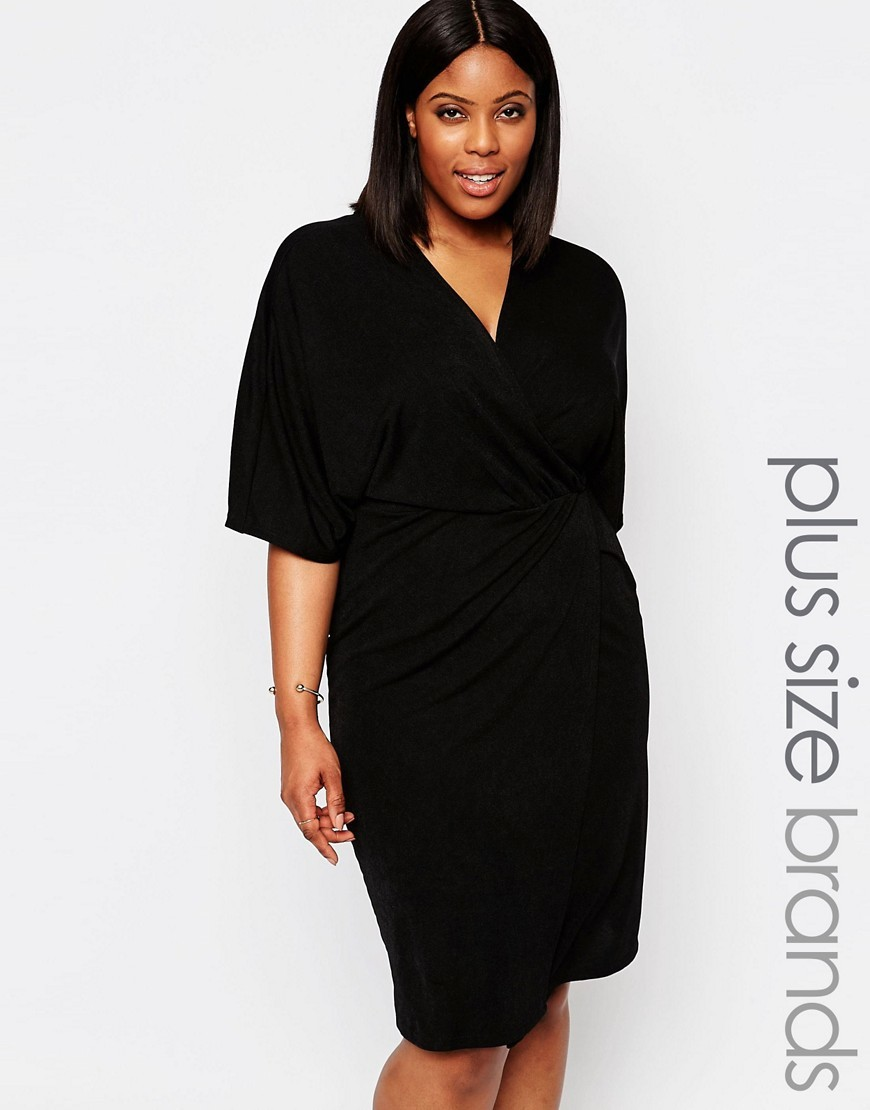 Plus Midi Dress With Wrap Front Black - style: faux wrap/wrap; neckline: v-neck; pattern: plain; predominant colour: black; length: on the knee; fit: body skimming; fibres: polyester/polyamide - stretch; sleeve length: half sleeve; sleeve style: standard; pattern type: fabric; texture group: jersey - stretchy/drapey; occasions: creative work; season: s/s 2016