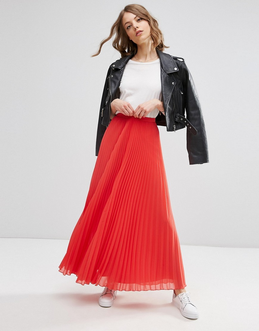 Pleated Maxi Skirt Coral - pattern: plain; length: ankle length; fit: loose/voluminous; waist: high rise; predominant colour: coral; style: maxi skirt; fibres: polyester/polyamide - 100%; occasions: occasion, creative work; hip detail: adds bulk at the hips; texture group: sheer fabrics/chiffon/organza etc.; pattern type: fabric; season: s/s 2016; wardrobe: highlight