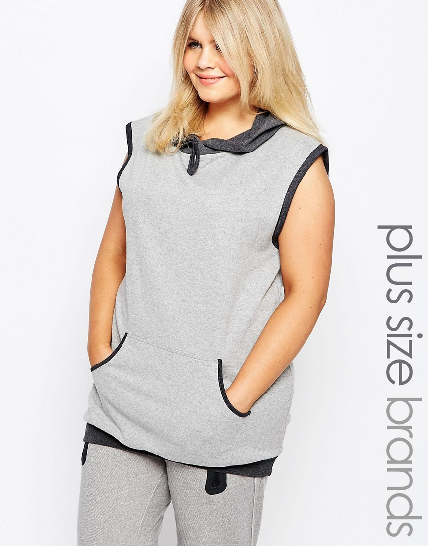 Lounge Hooded Sleeveless Sweatshirt Grey - sleeve style: sleeveless; neckline: high neck; length: below the bottom; back detail: hood; secondary colour: charcoal; predominant colour: light grey; occasions: casual; fibres: cotton - stretch; fit: standard fit; sleeve length: sleeveless; pattern type: fabric; pattern size: standard; pattern: colourblock; texture group: jersey - stretchy/drapey; season: s/s 2016; style: hoody