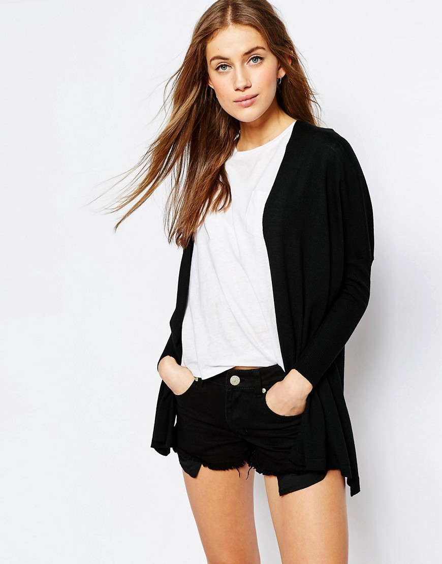 Fine Cardigan In Boxy Shape Black - pattern: plain; length: below the bottom; neckline: collarless open; predominant colour: black; occasions: casual, creative work; style: standard; fibres: polyester/polyamide - mix; fit: standard fit; back detail: longer hem at back than at front; sleeve length: long sleeve; sleeve style: standard; texture group: knits/crochet; pattern type: knitted - fine stitch; season: s/s 2016