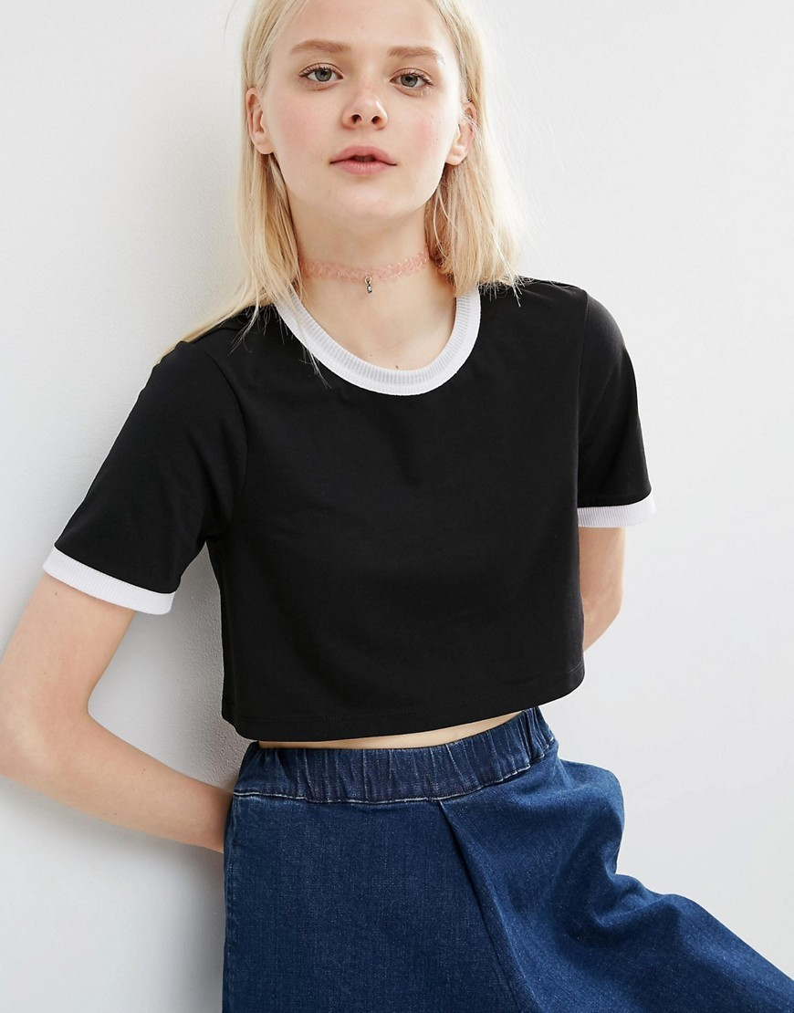 Crop T Shirt With Tipping Black/White Tipping - length: cropped; style: t-shirt; secondary colour: white; predominant colour: black; occasions: casual; fibres: cotton - 100%; fit: straight cut; neckline: crew; sleeve length: short sleeve; sleeve style: standard; pattern type: fabric; pattern size: light/subtle; pattern: colourblock; texture group: jersey - stretchy/drapey; season: s/s 2016; wardrobe: highlight