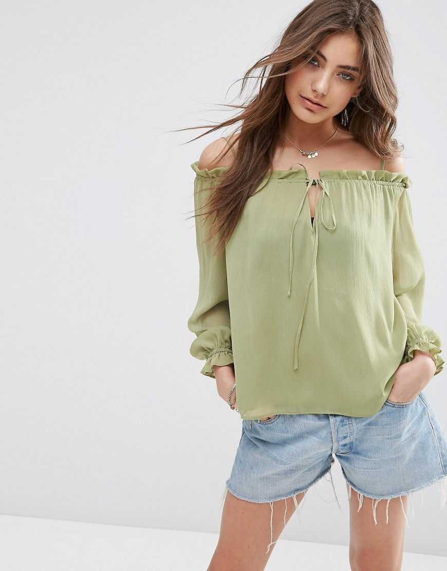 Pretty Sheer Off The Shoulder Top Green - neckline: off the shoulder; pattern: plain; predominant colour: khaki; occasions: casual; length: standard; style: top; fibres: polyester/polyamide - 100%; fit: body skimming; sleeve length: long sleeve; sleeve style: standard; pattern type: fabric; texture group: other - light to midweight; season: s/s 2016; wardrobe: highlight