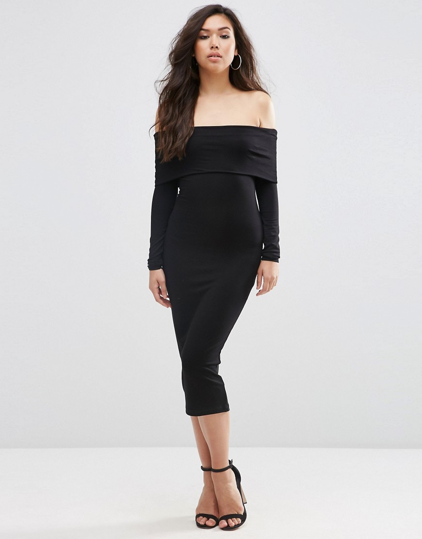 Long Sleeve Deep Bardot Midi Bodycon Black - length: calf length; neckline: off the shoulder; fit: tight; pattern: plain; style: bodycon; hip detail: fitted at hip; predominant colour: black; occasions: evening, occasion; fibres: polyester/polyamide - stretch; sleeve length: long sleeve; sleeve style: standard; texture group: jersey - clingy; pattern type: fabric; season: s/s 2016