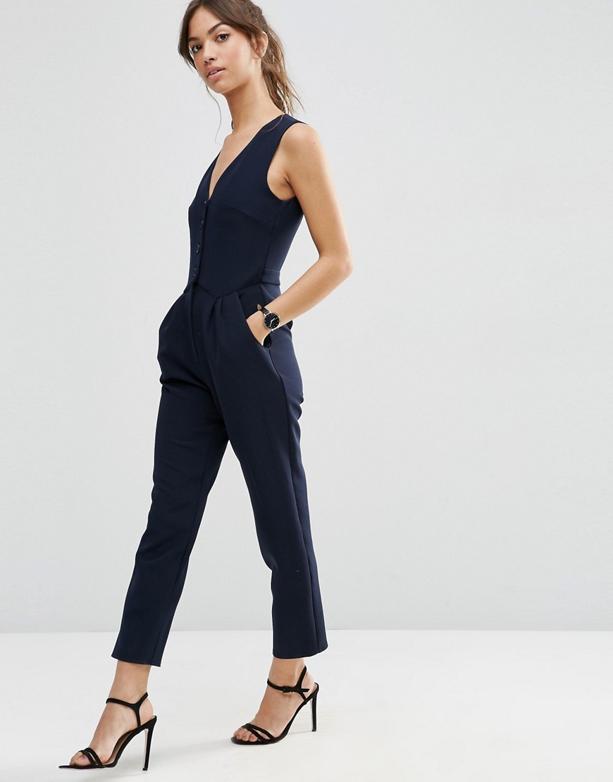 Jumpsuit With Button Front Navy - neckline: low v-neck; fit: tailored/fitted; pattern: plain; sleeve style: sleeveless; predominant colour: navy; occasions: evening, occasion; length: ankle length; fibres: polyester/polyamide - 100%; sleeve length: sleeveless; texture group: crepes; style: jumpsuit; pattern type: fabric; season: s/s 2016; wardrobe: event